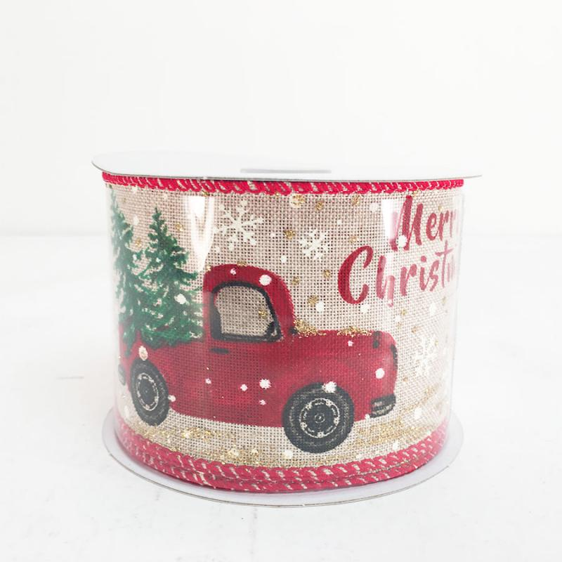 25 X 10Y Merry Christmas Vintage Truck With Trees