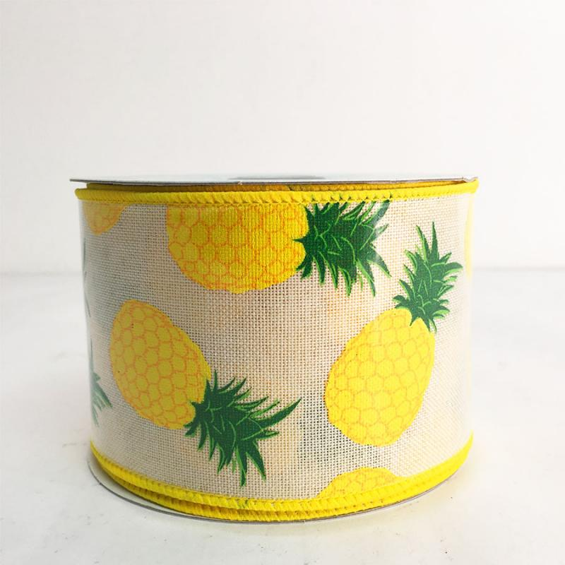 "2.5"" x 10YD Natural Pineapple Ribbon"