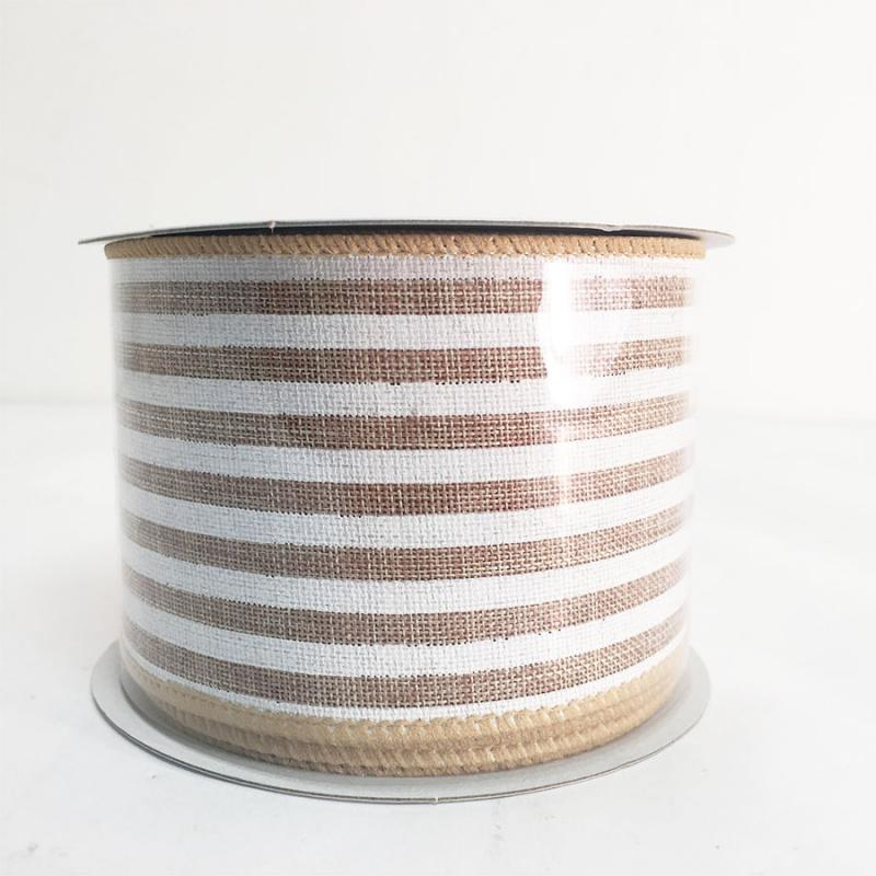 "2.5"" x 10Y Natural Striped Ribbon"