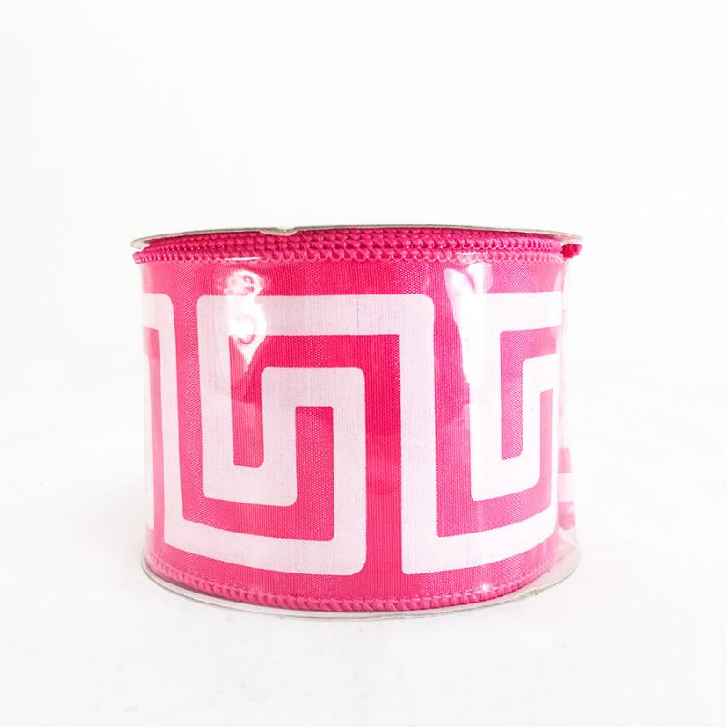 "2.5"" x 10Y Fuchsia Greek Key Ribbon"