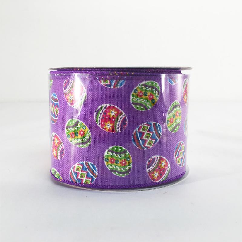 Jascotina 2.5 x 10 YD Purple Ribbon with Decorative Eggs