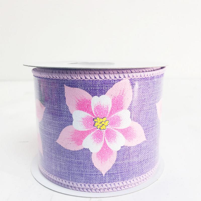 "2.5"" x 10yds Purple and Pink Hibiscus Flower Ribbon"