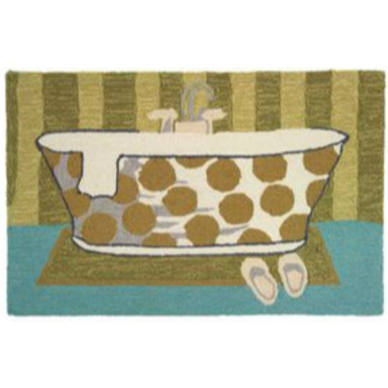 "22""x34"" Vintage Tub Hand Hooked Accent Rug"