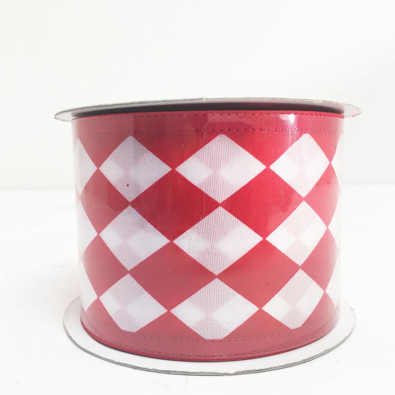 "2.5"" x 10Y Red and White Harlequin Ribbon"