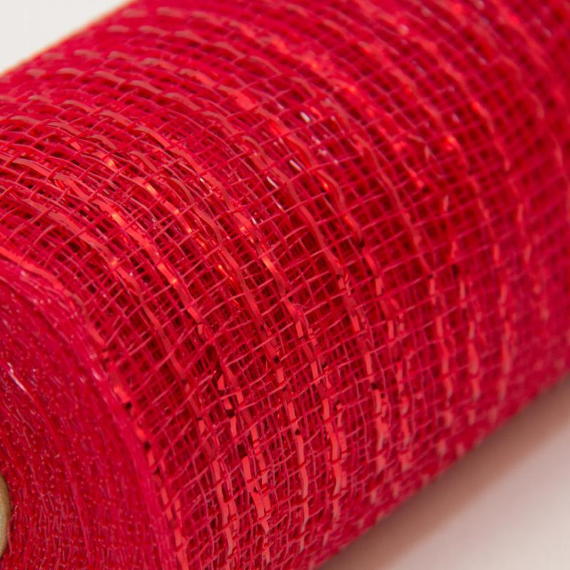 21 in. Metallic Red Deco Mesh Ribbon