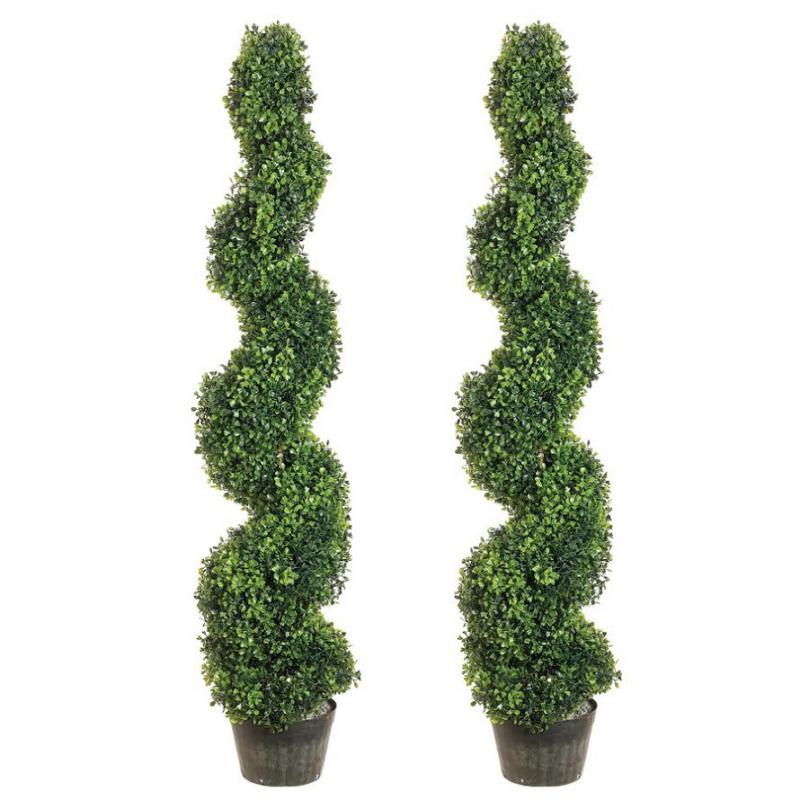 Set of Two - 4 ft.Boxwood Spiral Topiary
