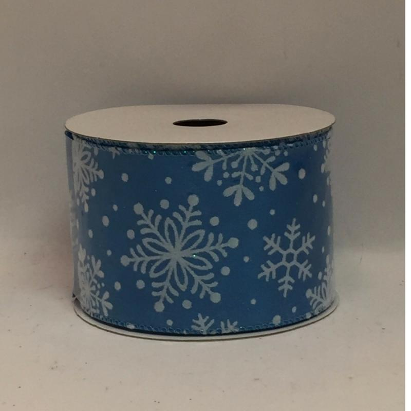 "Caffco Blue and White Snowflake Christmas Ribbon 2.5"" x 10yds 100% Polyester"