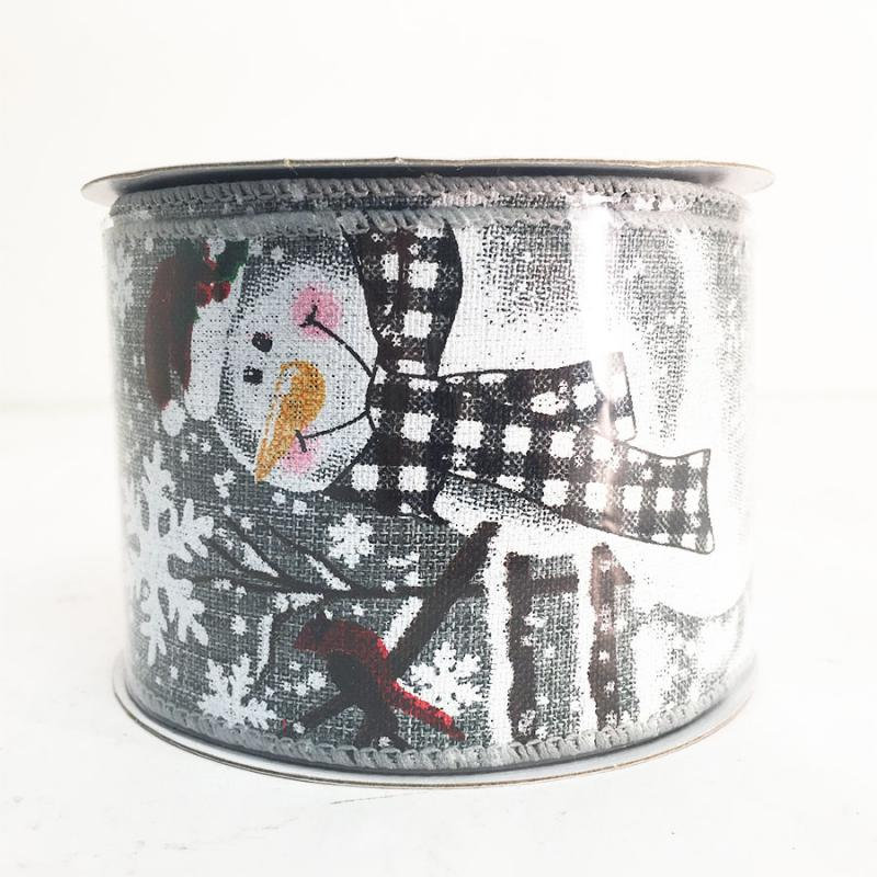 "2.5"" x 10Y Snowman and Cardinal Ribbon"