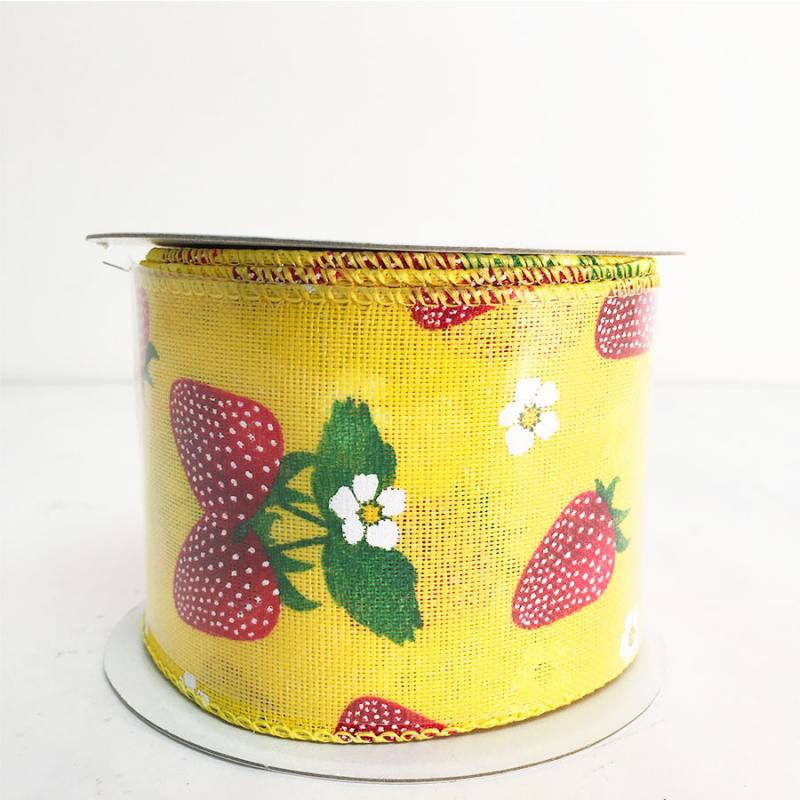 2.5 x 10YD Strawberry and Blossoms Ribbon