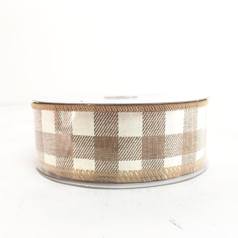 "2.5"" x 10Y Tan and Cream Chex Pattern Ribbon"