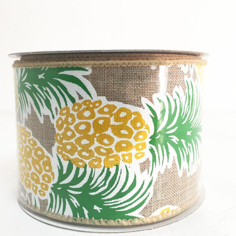 "2.5"" x 10YD Tropical Pineapple Ribbon"