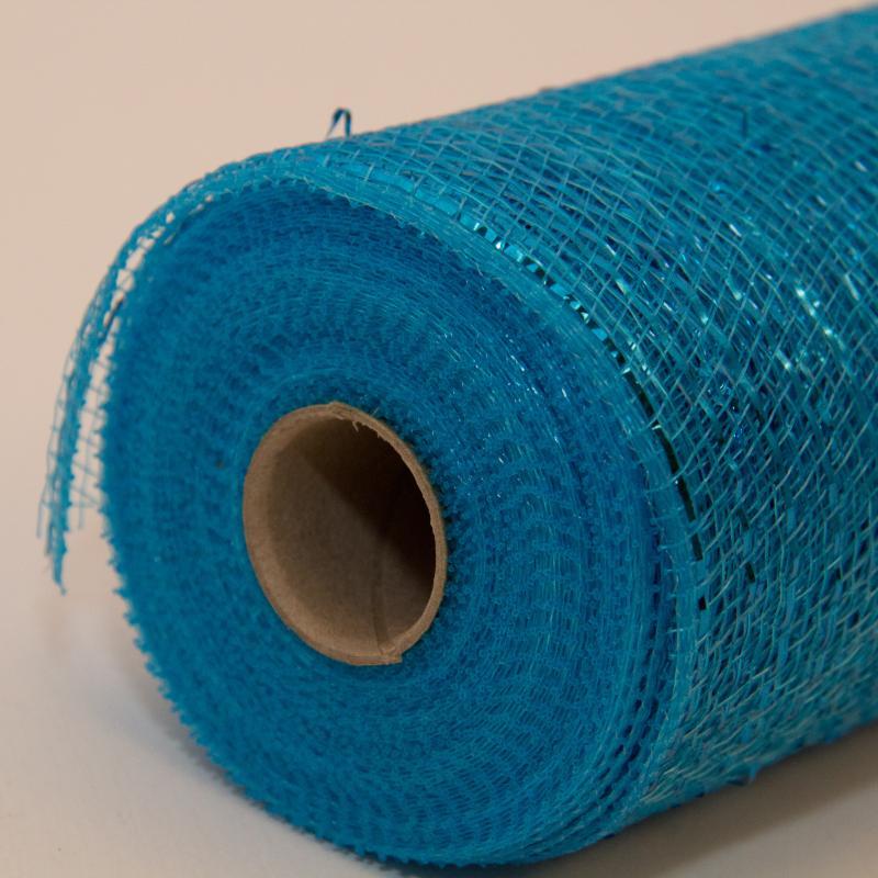 10 In Metallic Turquoise Deco Mesh Ribbon Floral Ribbon