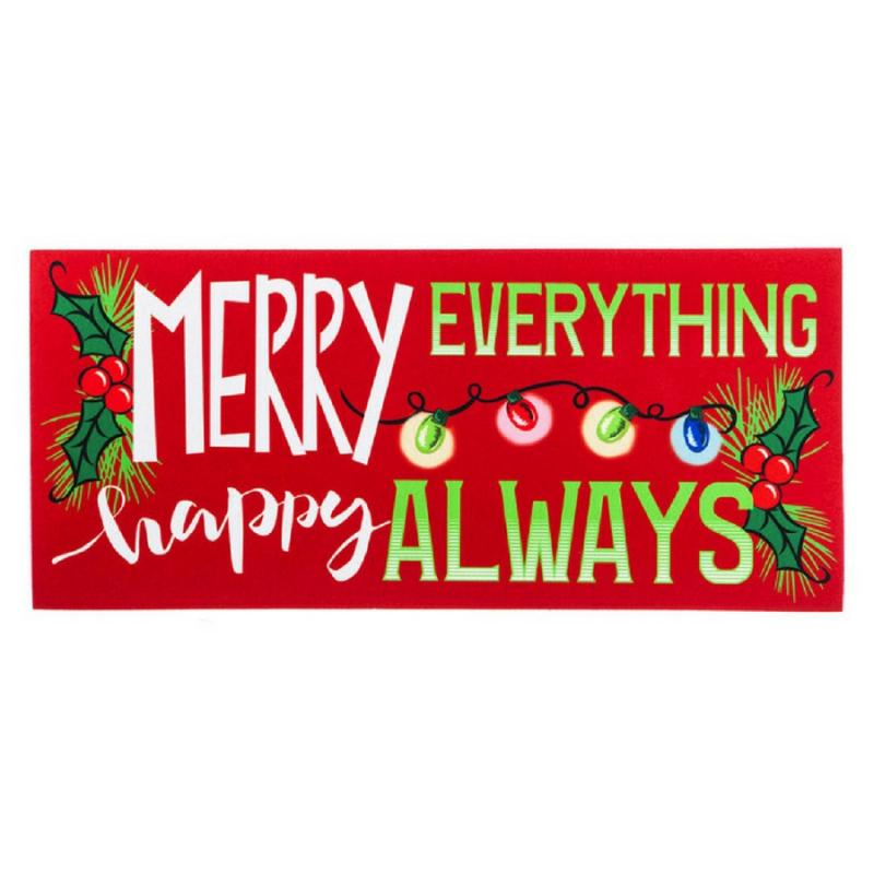 Evergreen 431340 Merry Everything, Happy Always Mat Insert, 10 x 22 inches (Door Mat Frame Sold Separately)