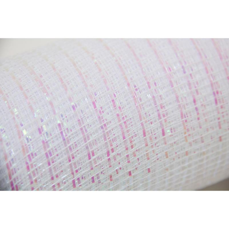 10 in. Metallic White Iridescent Deco Mesh Ribbon