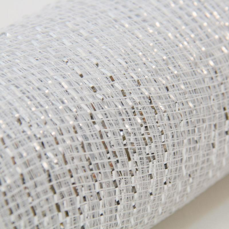10 in. Metallic White/Silver Deco Mesh Ribbon