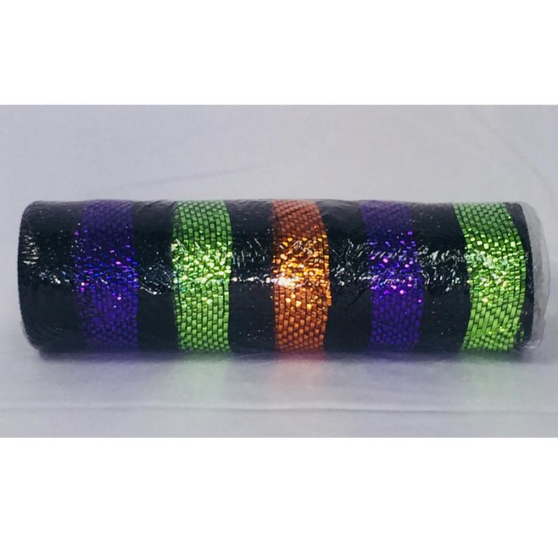 10 in. Halloween Stripe Mesh Ribbon