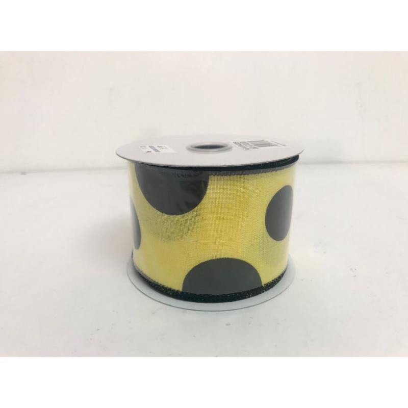 "2.5""x10yd Yellow & Black Polka Dot Ribbon"