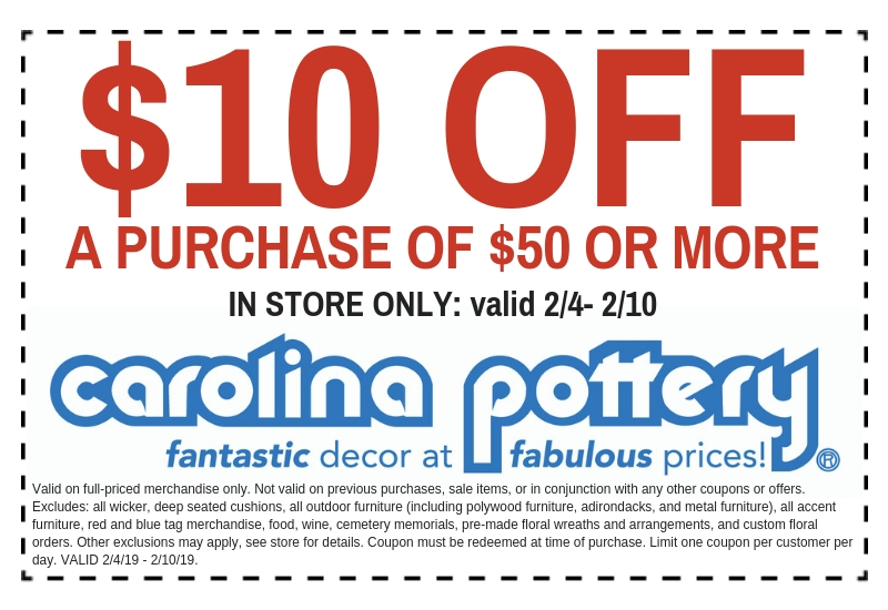 Carolina Pottery In Store Discount Coupon